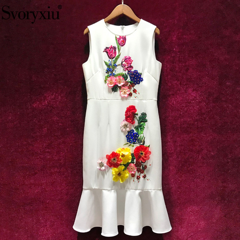 Svoryxiu 2019 Runway Summer White Mermaid Party Dress Women s luxury Beading Appliques Floral Print Sleeveless