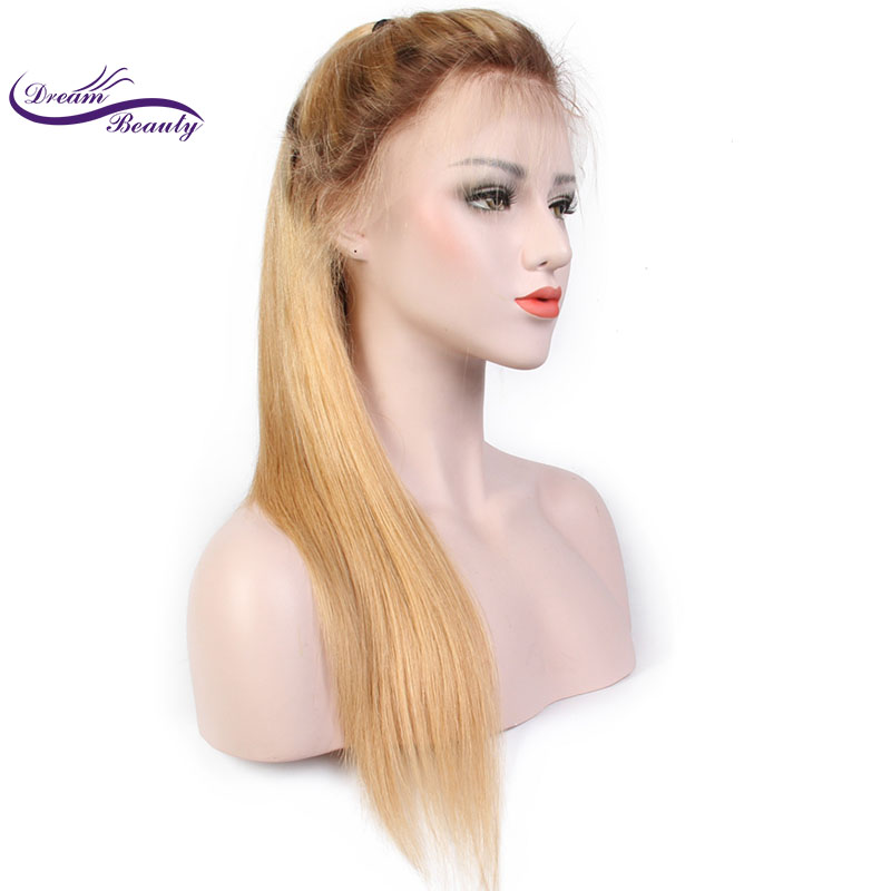 Dream Beauty Ombre Color 13x6 Lace Front Human Hair Wigs with Baby Hair Pre-Plucked Hairline Remy Brazilian Hair Glueless Wigs
