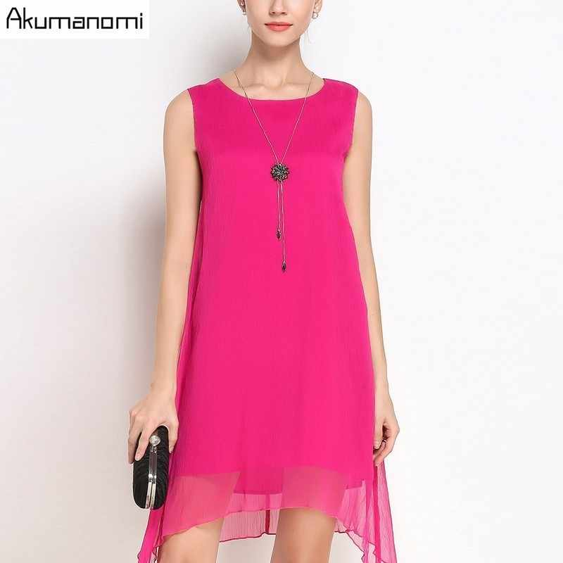 Summer Dress Women Clothing Black Fuchsia O-neck Sleeveless Tank A-line  Irregular Hem 60d1a4094dc7