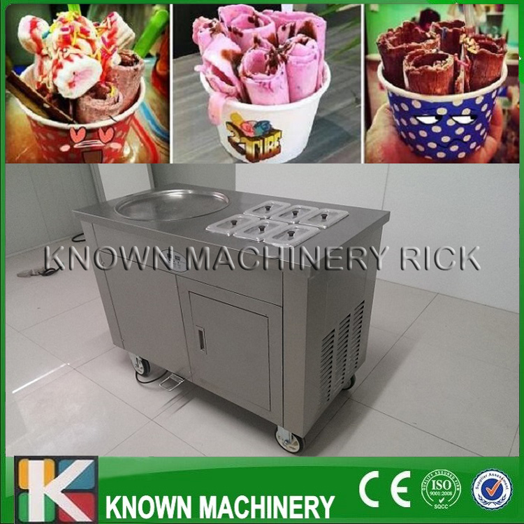 The 110/220V Big Dia Pans Fry Ice Cream Roll Machine With Import Compressor And Fine Copper Condenser Free Shipping By Sea