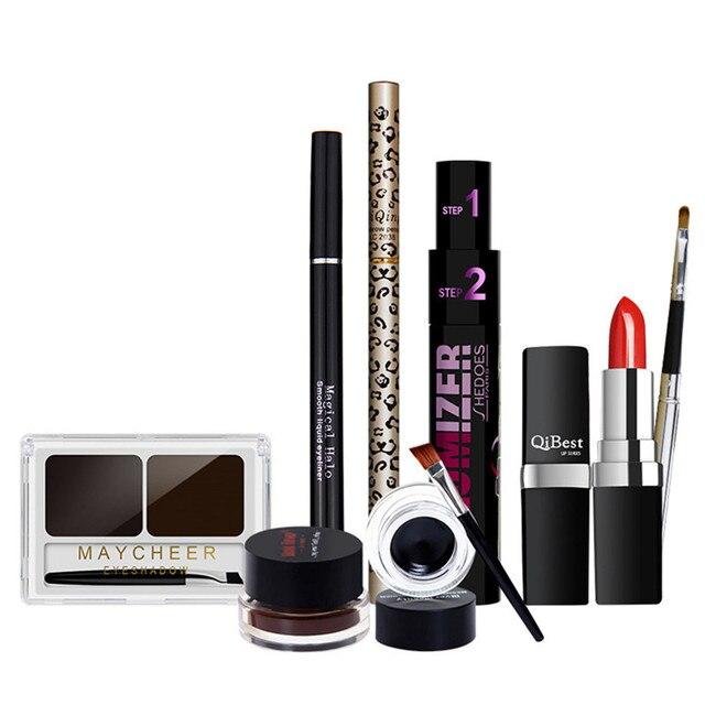 Makeup Set:Gel+eye liner liquid+Lipstick+lips brush Eyebrow Enhancer Powder+Pencil Eyebrow Powder+Double Effect Mascara+Eyeliner