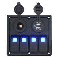 5pin 4 Gang Automotive Rocker Switch Panel With Cigarette Lighter Socket Dual USB Toggle LED Waterproof