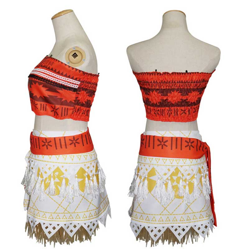 Hot Sale,2018 New Women Movie Moana vaiana Princess Dress Cosplay Halloween Costume Princess vaiana Costume Top + skirt + belt