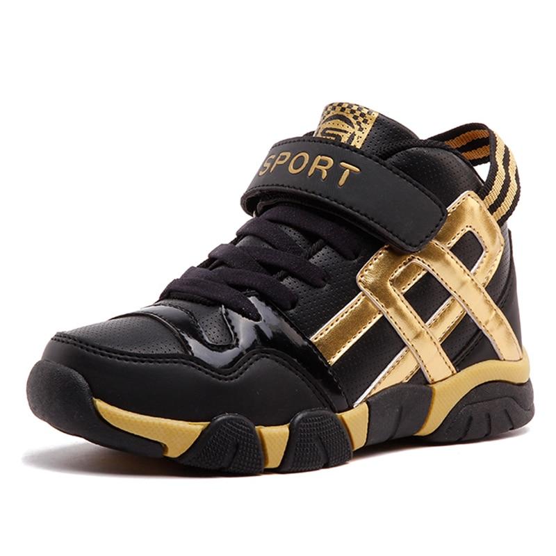 Hobibear Kids Shoes For Girls Boys Basket Black Gold Tennis Trains
