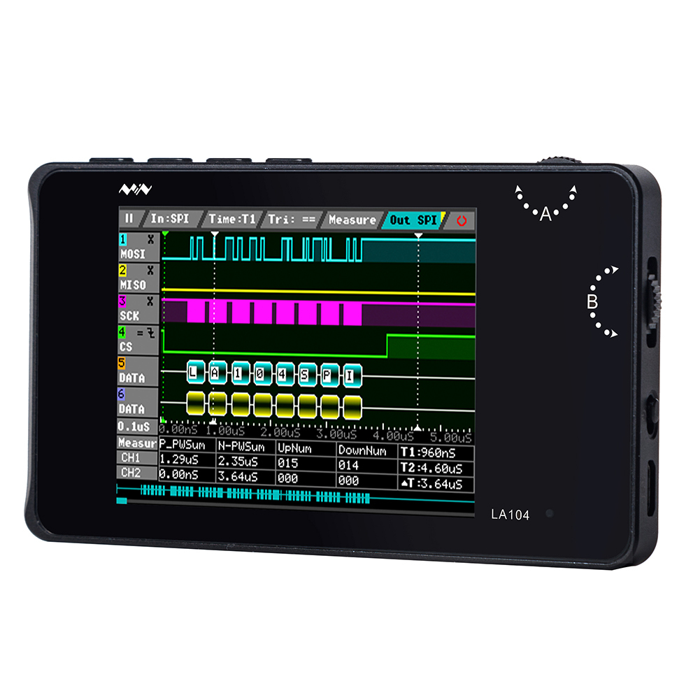 "Mini DSO LA104 Digital Logic Analyzer 2.8"" Screen 4 Channels Oscilloscope SPI IIC UART Programmable 100MHz Max Sampling Rate"