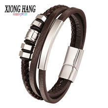 XiongHang Fashion Leather Bracelet For Men Black Braid Multilayer Rope Chain Stainless Steel Magnetic Clasp Male Jewelry Gifts