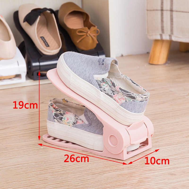 Schuh Veranstalter für Schrank Schuh Lagerung Organizer Kunststoff Einstellbare Doppel Schuh Racks Lagerung Box Stehen Regal hause lagerung
