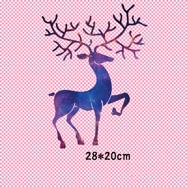 Elk <font><b>Deer</b></font> <font><b>Patch</b></font> T-shirt Press Sticker Washable Iron On Transfers <font><b>Patches</b></font> For Christmas Garment image