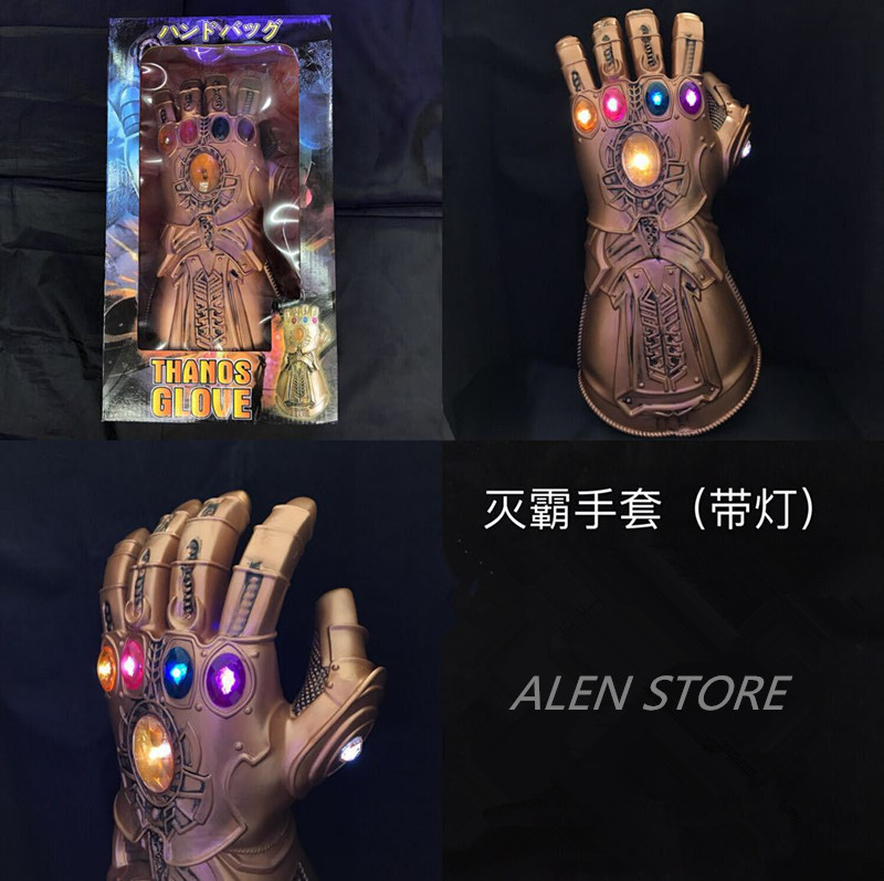 Thanos Infinity Gauntlet Led Action Figures Cosplay Superhero Iron Man Anime Avengers Infinity War Thanos Led Glove Halloween 1 1 the avengers iron man updated gauntlet glove led light left right hand new with retail box