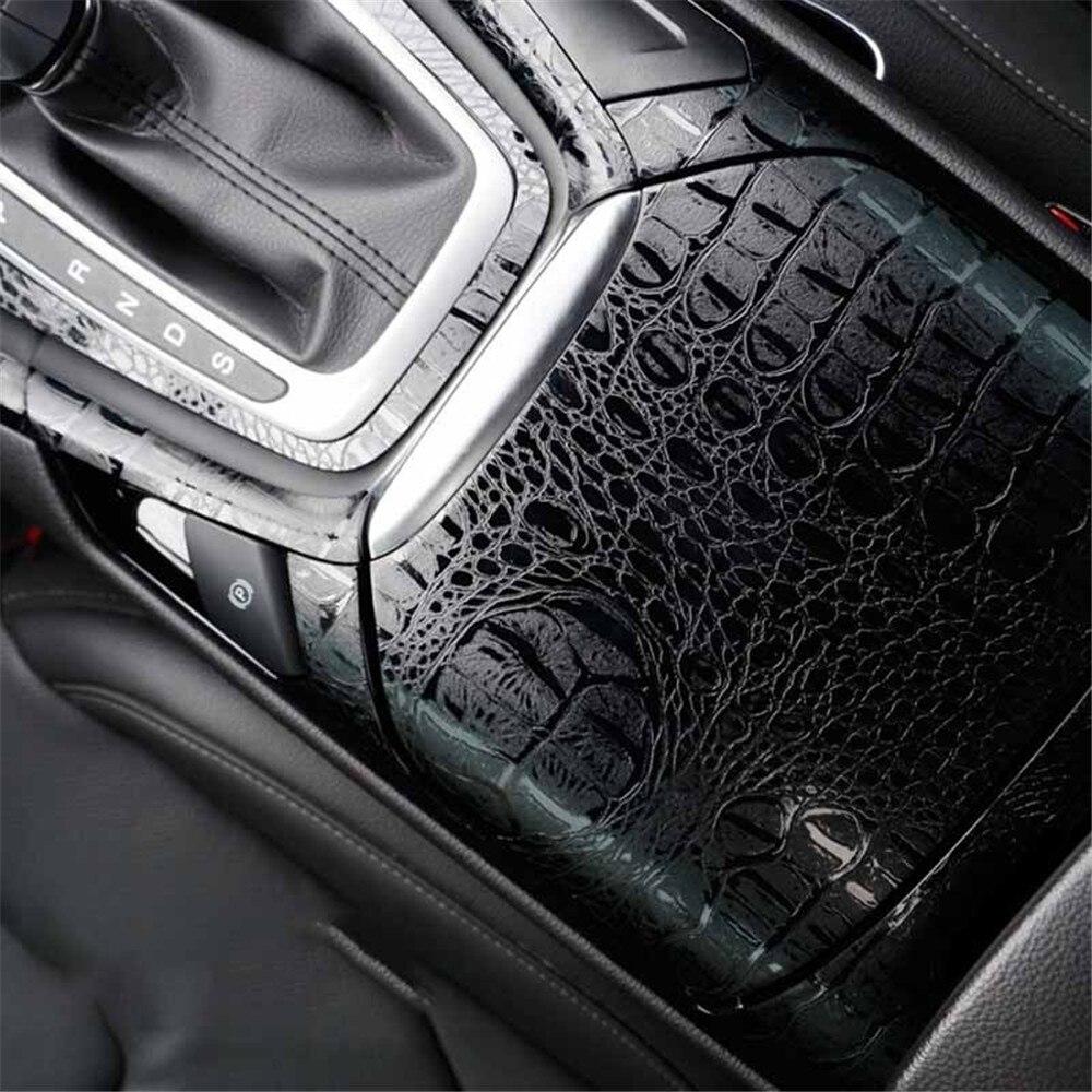 150*20 cm automobile autocollants intérieur voiture autocollant Film Simulation Crocodile cuir Texture décoration voiture style accessoires