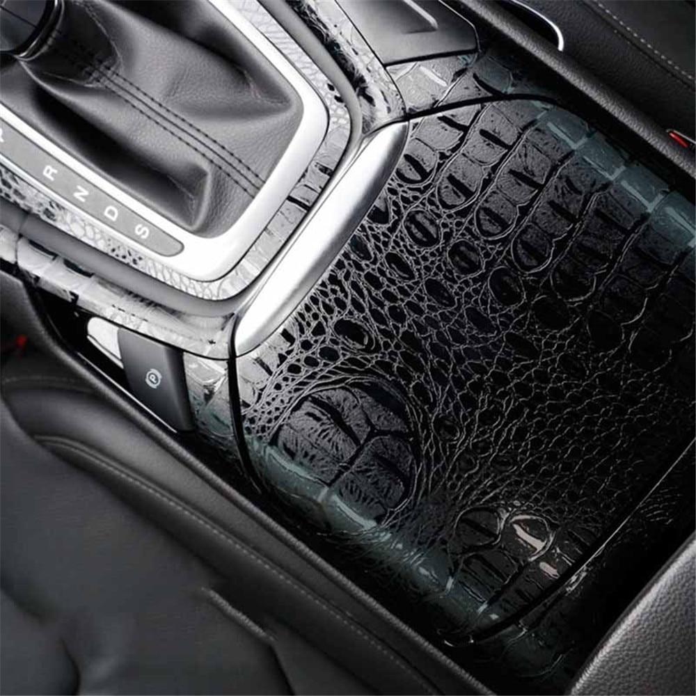 Pegatinas automotrices de 150x20 cm, pegatinas para Interior de coche, película de simulación de cocodrilo, textura de cuero, decoración, accesorios de estilo de coche