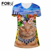 FORUDESIGNS Ukraine funny short sleeves dress 3d animal cat printed women summer casual beach sunflower dresses vestidos