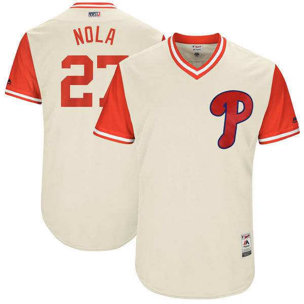 MLB Mens Philadelphia Phillies Aaron Nola Nola Baseball Tan 2017 Players Weekend Authentic Jersey