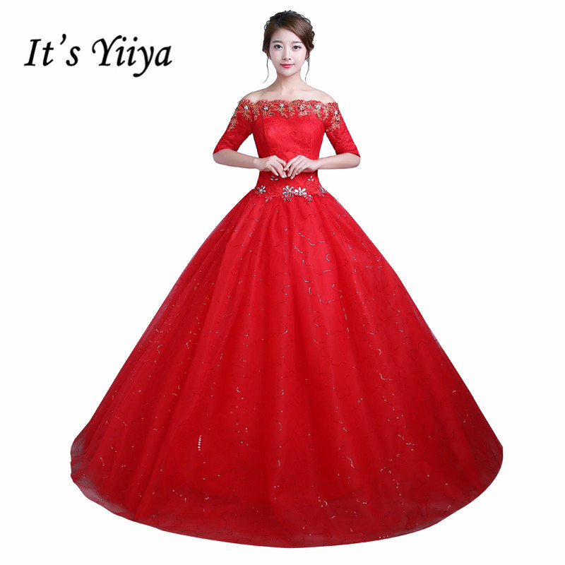 Red And White Wedding Dresses With Sleeves: Real Photo Princess Half Sleeves Boat Wedding Dresses