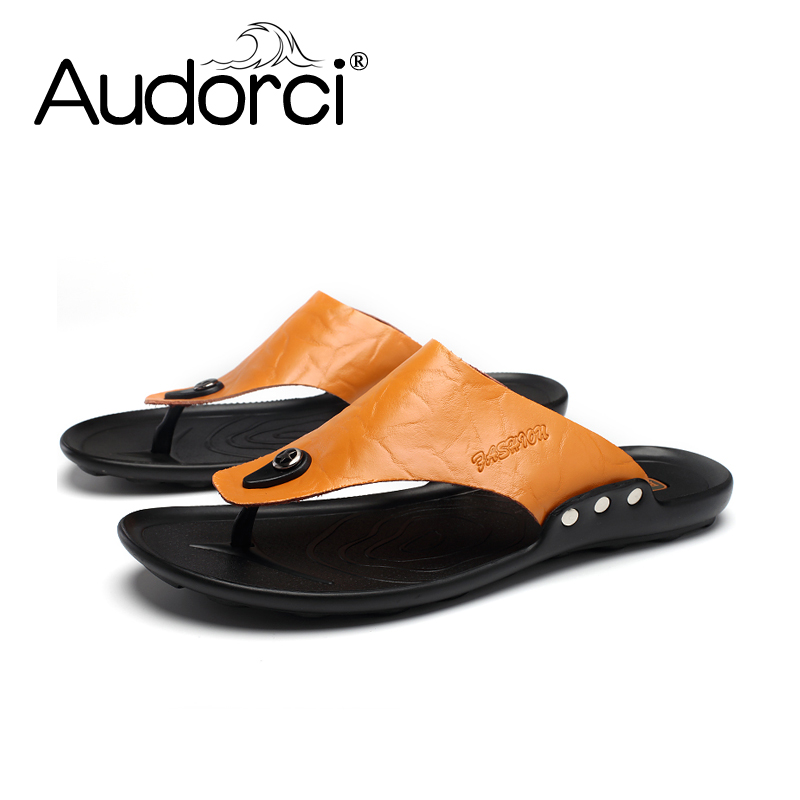 Audorci Top Men Sandals Summer Slippers Genuine Leather Flip Flop - Men's Shoes