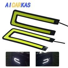 AICARKAS 2PCS U Shape Car LED Daytime Running Lights COB DRL Strip DC12V Car Light Source Auto Headlight White Driving Fog Lamp
