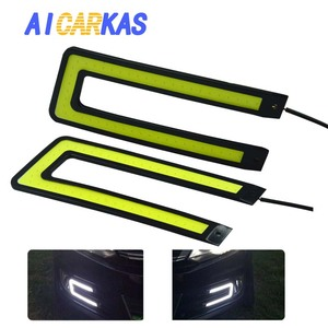 Image 1 - AICARKAS 2PCS U Shape Car LED Daytime Running Lights COB DRL Strip DC12V Car Light Source Auto Headlight White Driving Fog Lamp