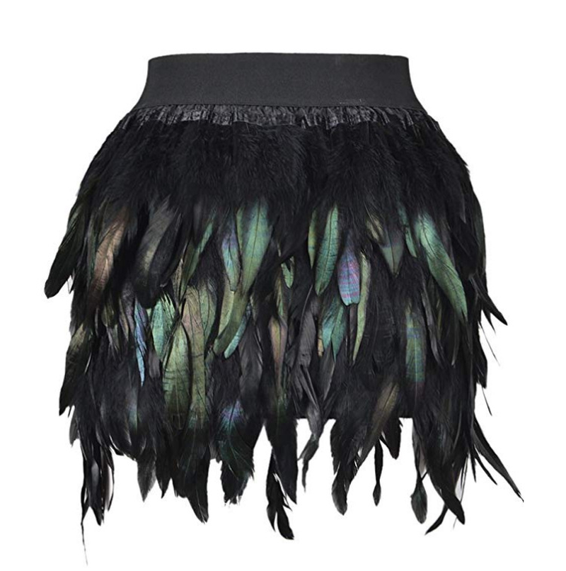 Women Black Swan Feather Skirt Mini Length Fully Double Layer Fabric Lined Feather Skirt Party Event Plumage Office Lady Skirt