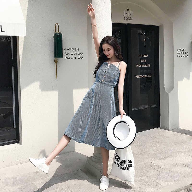 Лето 2019 г. для женщин платья для весна Boho богемный спагетти ремень с открытыми плечами миди праздник Пляж полосатый Flare платье