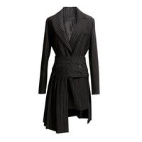 נשים שחורות פסים בלייזר + קפלים חצאית סט צמד סריגי אמריקנה mujer chaqueta מעילי חליפת עסקים אלגנטי LT422