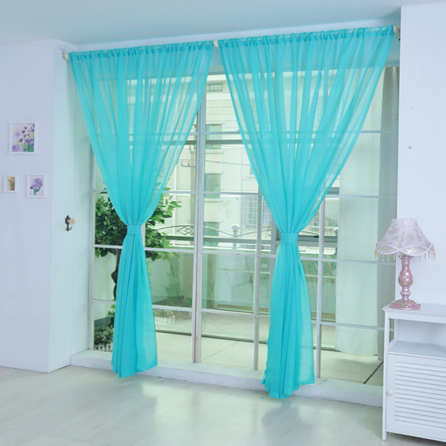 Hot Sale Curtain Pure Color Tulle Door Window Curtain Drape Panel Sheer Scarf Valances Modern bedroom Living Room Curtains turq