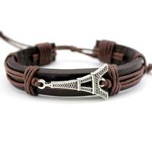 Eiffel Tower Bow Arrow Star Crown Handcuffs Dog Paw Fish Turtle Skull Dragon Charm Leather Bracelets Women Men Unisex Jewelry