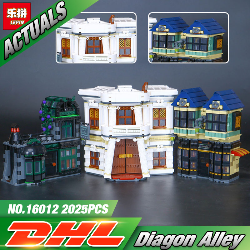 In stock Lepin 16012 DHL Movie Series The 10217 Diagon Alley Set Model Building Bricks Blocks Toys For Kids Christmas Boys Gifts lepin 16012 diagon alley building bricks blocks toys for children boys game model car gift compatible with bela decool 10217