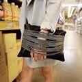 Drop Shipping Korean style black color Women's Clutches fashion punk classic women envelope bags clutch evening bag
