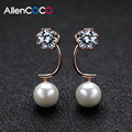 ALLENCOCO Korean Star Loves Silver/Rose Gold Plated Half Curve Solitaire Stud Earrings &Simulated Pearl For Engagement Women
