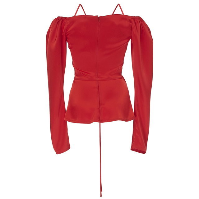 Satin Off the Shoulder Ruched Open Top Back Zipper Red Bardot Babe Top Inspired by Kylie jenner 4