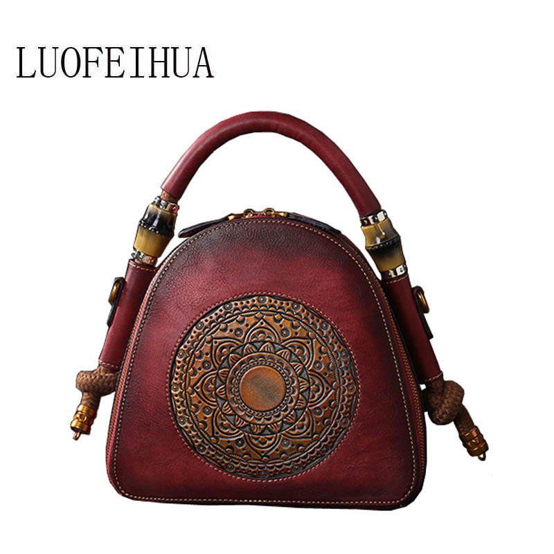LUOFEIHUA Genuine Leather women bags for women 2019 new original retro color top layer embossed handbag Designer bagLUOFEIHUA Genuine Leather women bags for women 2019 new original retro color top layer embossed handbag Designer bag