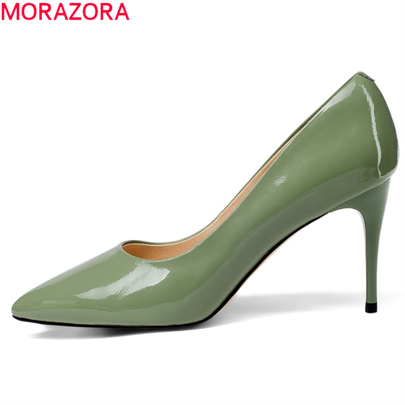 MORAZORA 2018 new arrival women pumps shallow genuine leather shoes pointed toe summer shoes elegant party wedding shoes green morazora 2018 new style women pumps simple shallow summer shoes elegant peep toe pink party wedding shoes 12cm high heel shoes