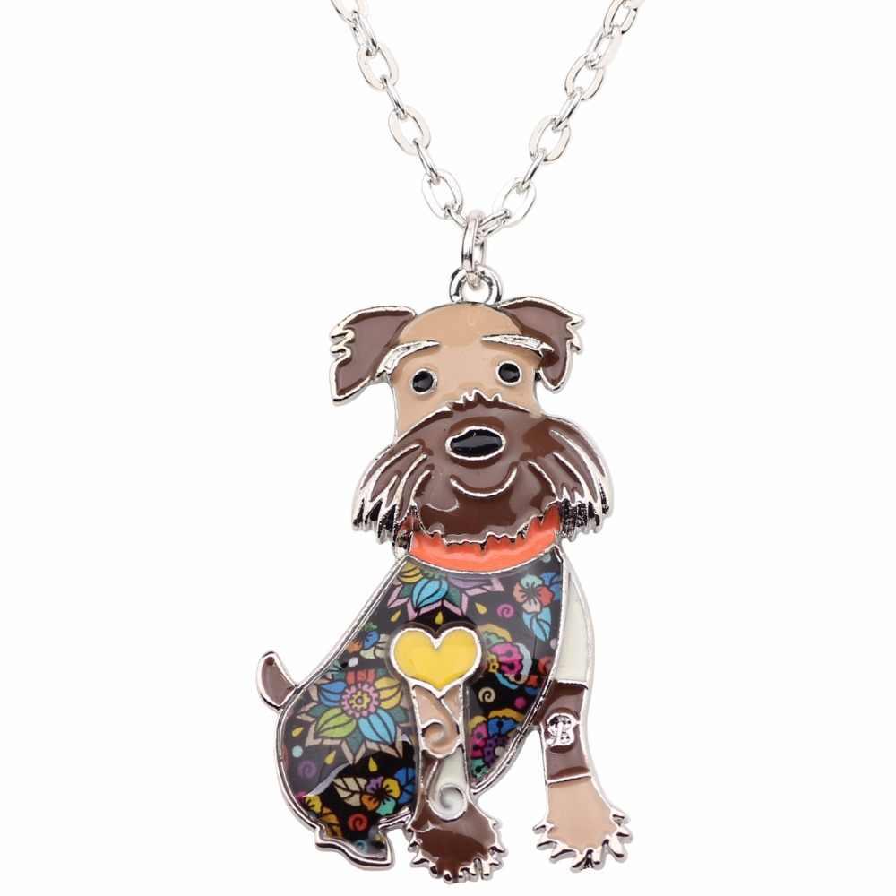 Bonsny Tuyên Bố Hợp Kim Kẽm Schnauzer Dog Terrier Choker Necklace Chain Pendant Cổ Áo Thời Trang Mới Men Trang Sức Cho Phụ Nữ Cô Gái