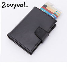 ZOVYVOL 2019 New Arrival OL Aluminum Box Card Wallets PU Leather Unisex Business ID Holders RFID Blocking Credit Holder
