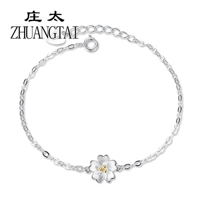 ZHUANGTAI Elegant Flowers Charms Bracelets For Women Silver Color Friendship Bracelets Bangles Jewelry Bransoletki Damskie 2018 friendship bracelets