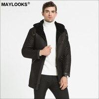 Может выглядит осень/зима 2018 меха в одном овчины Для Мужчин's Кожаные модельные туфли для отдыха очень длинный капот куртка с вышивкой WS86