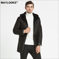 May Looks Fall / Winter 2018 Fur in One Sheepskin Men's Leather Dress Leisure Super Long Hood Embroidered Jacket WS86