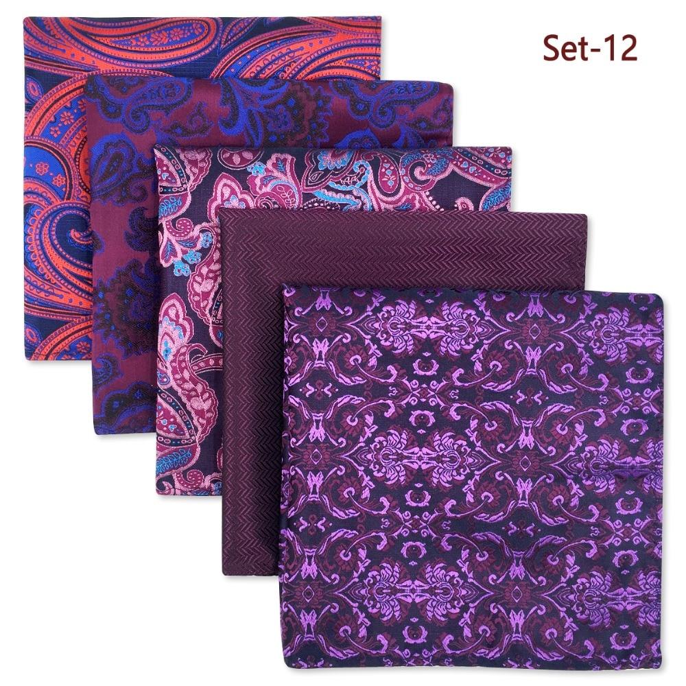 5 Pieces Assorted Mens Pocket Square Fashion  Wedding Silk Handkerchiefs Set