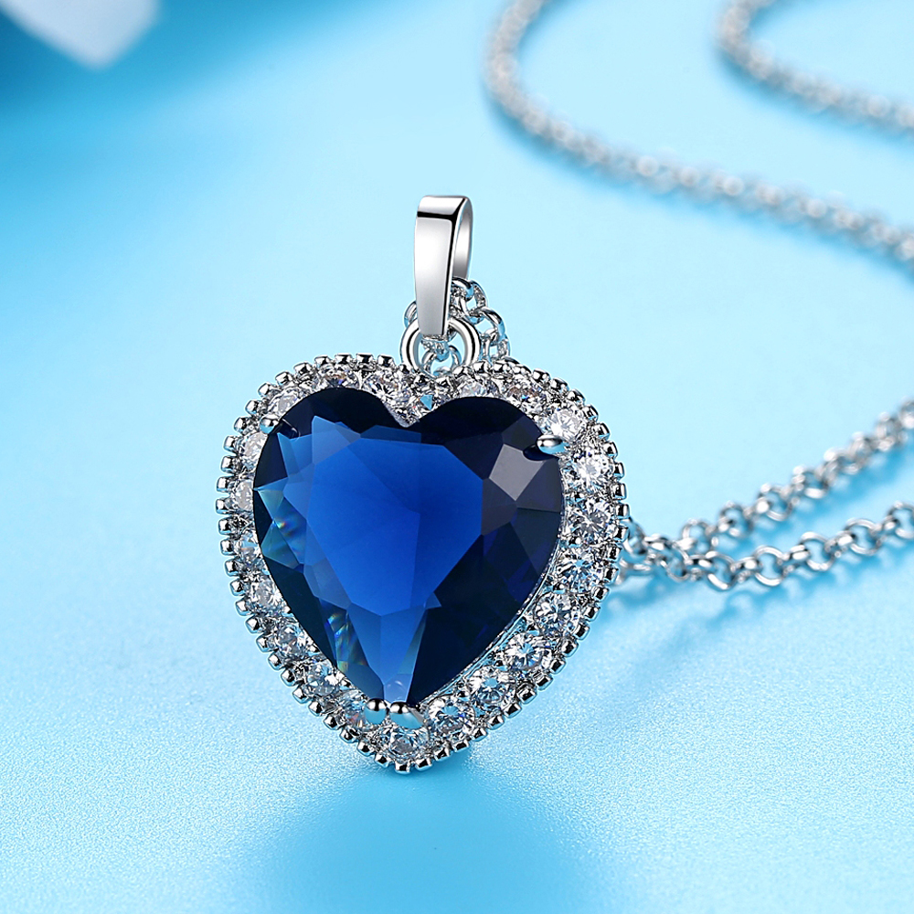 Dovolov Heart-Of-The-Ocean-Necklaces Chain-Pendant Wedding-Jewelry Titanic Romantic Blue