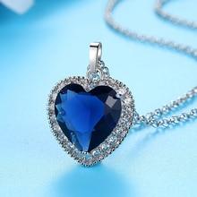Dovolov Titanic corazón del océano collares para mujeres azul romántico CZ cadena colgante collares moda boda joyería D3