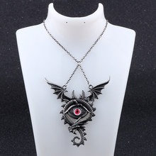 collares largos de moda 2018 Vintage Designer Maxi Fly Dragon Pendant Necklace Punk Gothic collar mujer Sweater jewelery(China)
