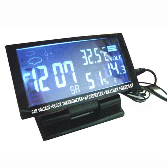 High Quality Auto Voltage Monitor LCD Digital Car F/C Thermometer Hygrometer Clock Black