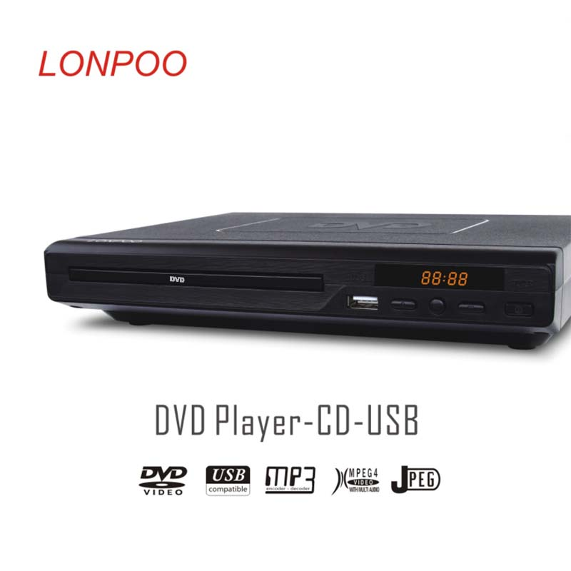 LONPOO Newest Black Portable USB2 0 DVD Player External DVD Burner Rom Drive Multimedia Digital DVD
