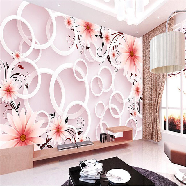 Wall Paper 3d Mural Decor Photo Backdrop Photography Circle Flowers Sunflower Art Modern Living Room Hotel