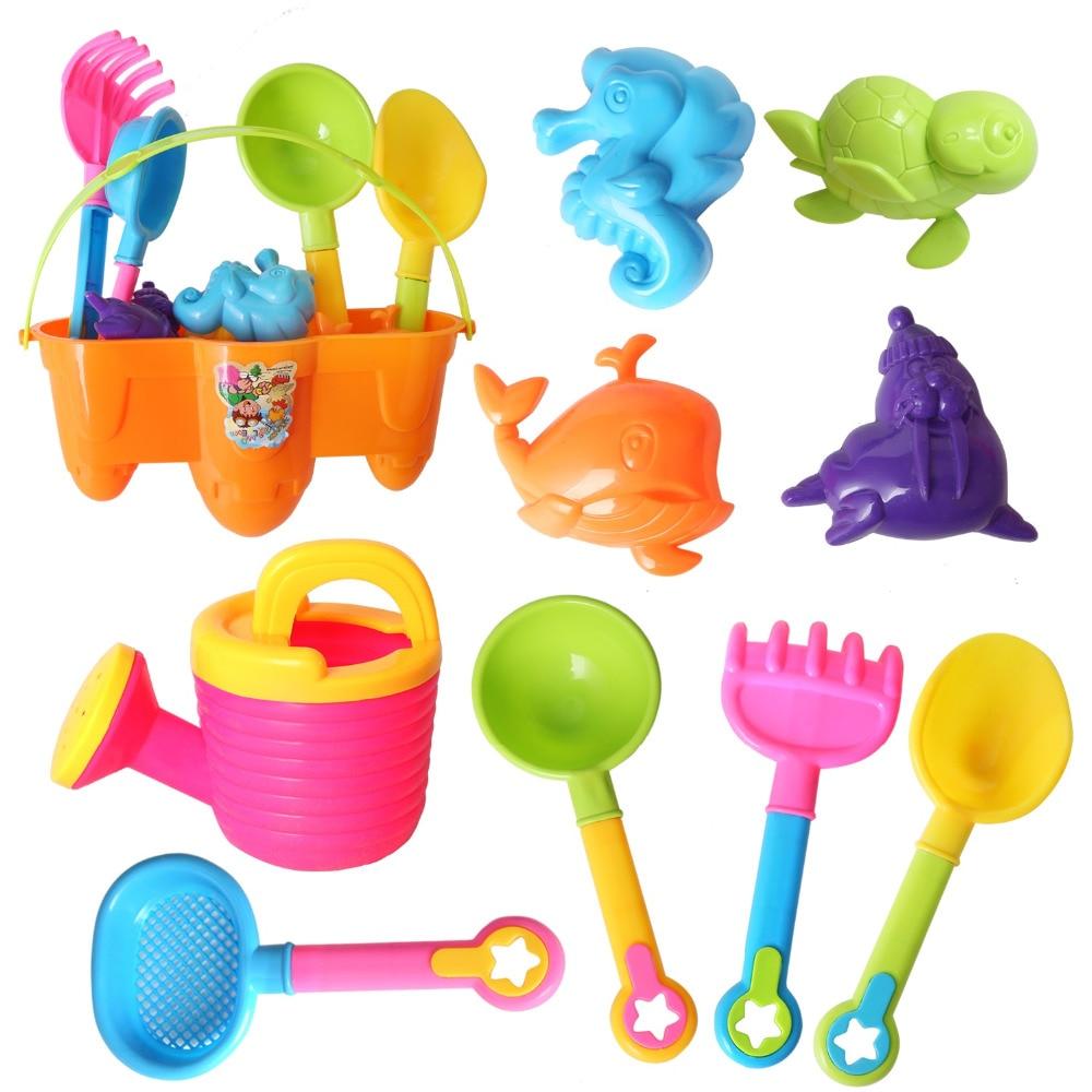 10 Stücke Strand/bad Spielzeug Farbe Zufällig Set Modelle, Formen, Eimer, Schaufeln, Rechen, Sprinkler, Pfannen Spielzeug Gastgeschenke Für Kinder (6025)