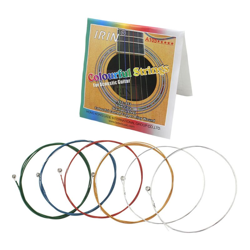 IRIN A105 Acoustic Folk Guitar Strings 1st-6th(.012-.053) Colorful Coated Copper Alloy Wound