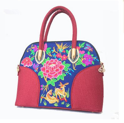 68e1ec25b21 New Women's nice Floral embroidery Handbags!Hot National Embroidered  embroidery Lady's carry bag double-use shoulder Canvas bag