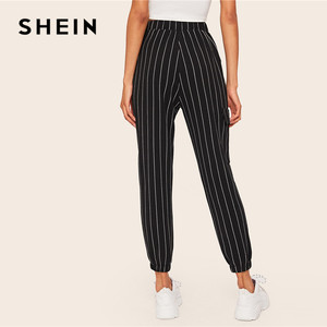 Image 2 - שיין אלכסון כיס אנכי פסים מכנסיים נשים אביב מזדמן אלסטי מותניים מכנסיים שחור רגיל אמצע מותניים מכנסיים Streetwear