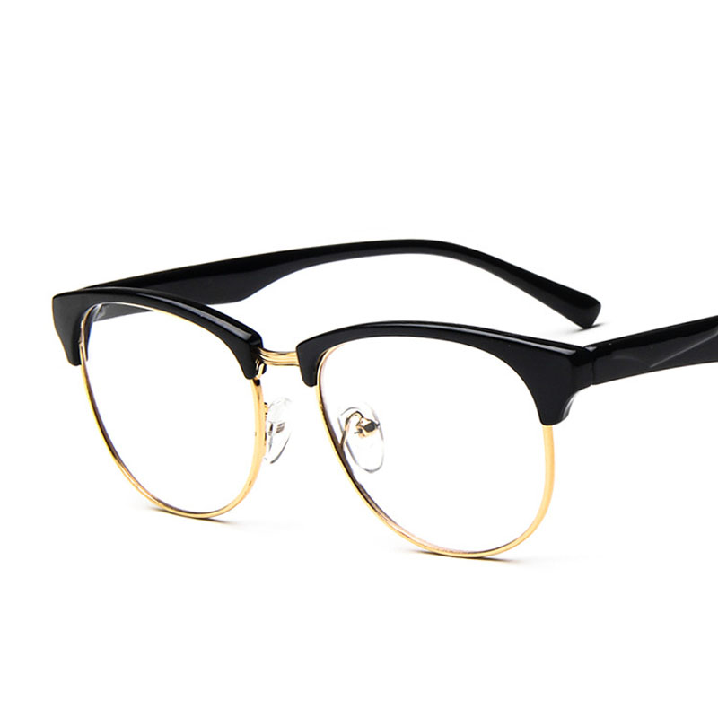 eb4093590630 hipster half rim plastic metal gold prescription eyewear oversized women  men frame glasses thin leg eyeglass