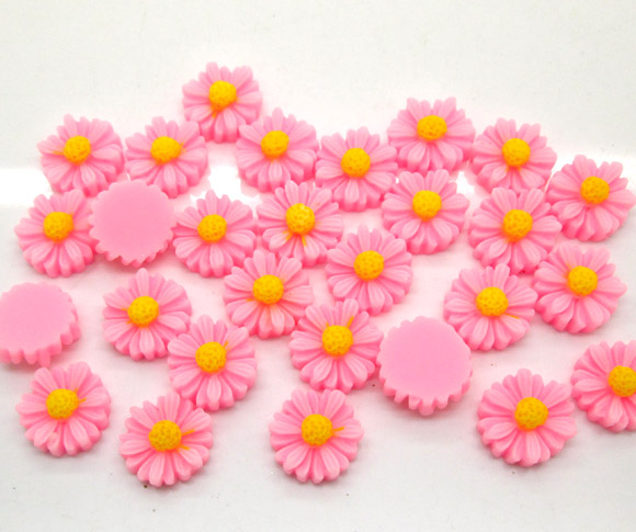 50Pcs Pink Resin Flower Beads Decoration Crafts Flatback Cabochon Scrapbooking Fit Phone Embellishments Diy Accessories